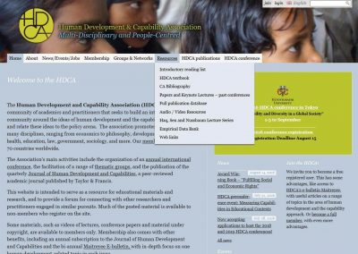 Website Human Development & Capability Association (2014-2015)