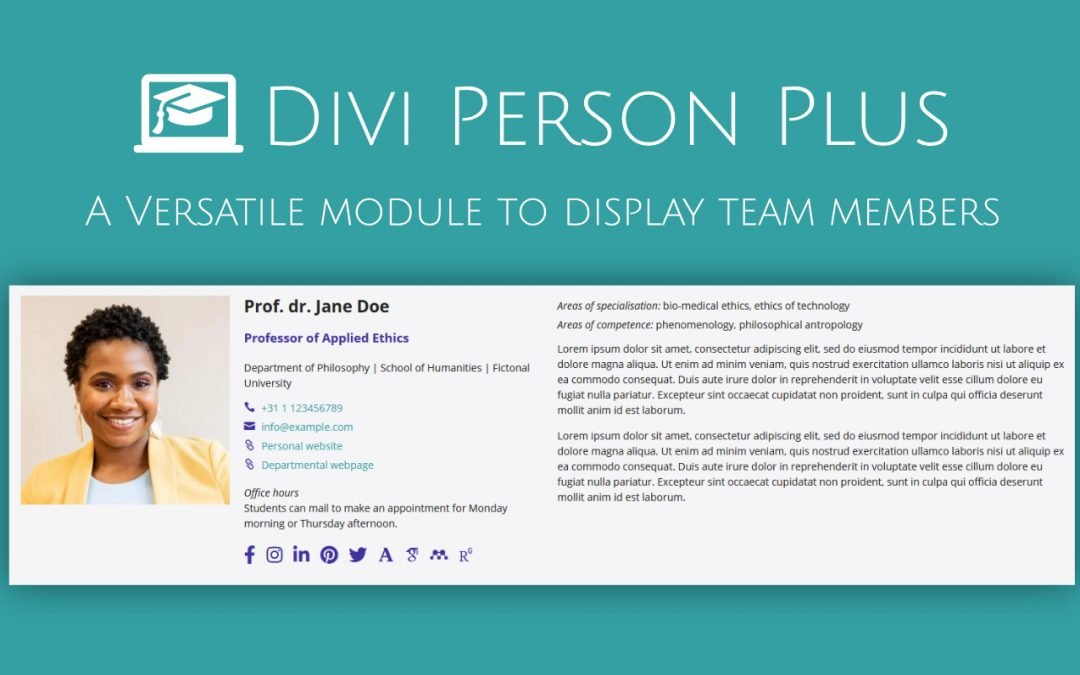 New: DIVI Person Plus Module. More social icons. More content options. More design options.