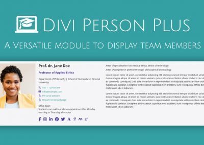 New: DIVI Person Plus Module